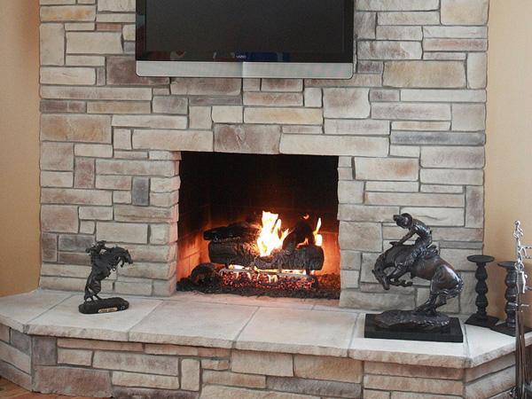 Arty Stone Fireplace