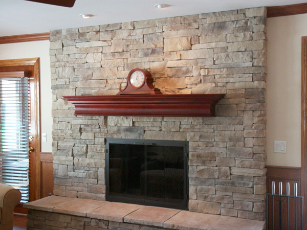 Pale Stone Fireplace