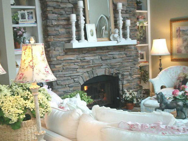 Cozy Stone Fireplace