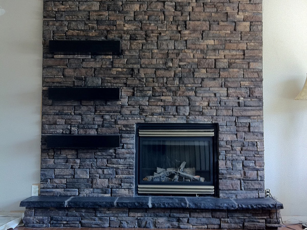 Tall Stacked Fireplace