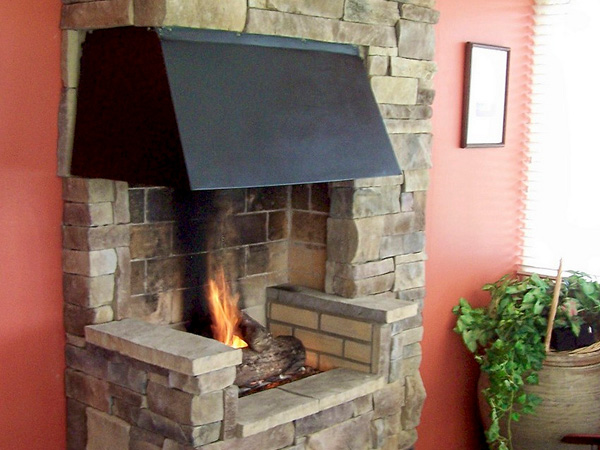 Stacked Stone Home Fireplace