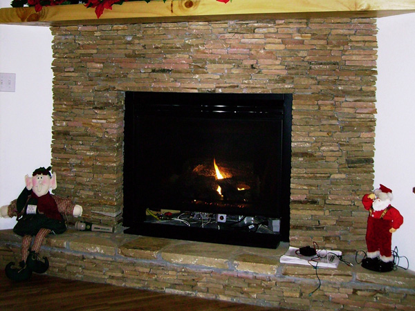Stacked Stone Smart Fireplace