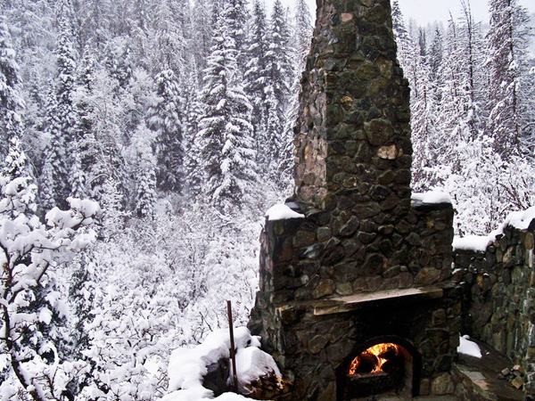 Snow Scene Fireplace
