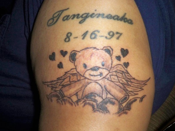 Teddy Bear With Wings Tattoo