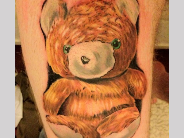 Leg Teddy Bear Tattoo