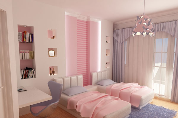 Soft Pink Teenage Girl Bedroom