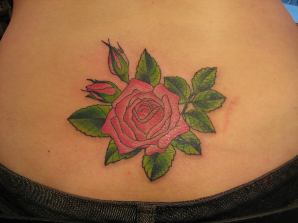 Realistic Rose With Rose Buds Tattoo