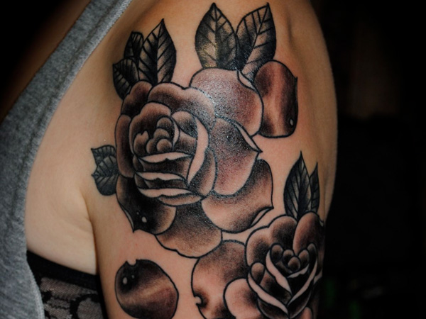 Black Rose Tattoo On Half Sleeve