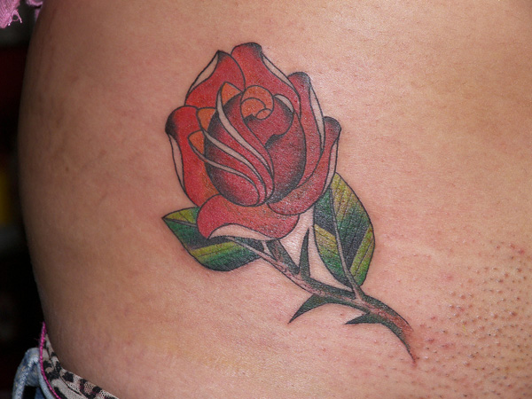 Rose With Thorns Traditional Rose Tattoo
