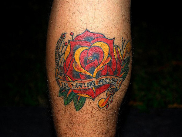 Memorial Traditional Red Rose Tattoo