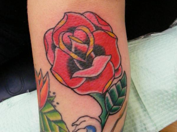 Simple Traditional Rose Tattoo