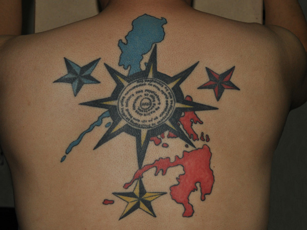 Compass Blue Red Water Tattoo