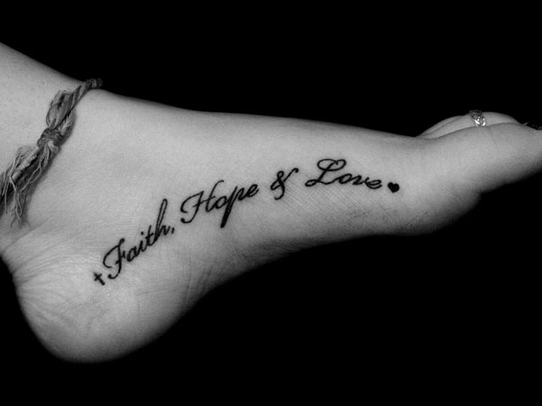 inner foot tattoo 25 Precious Faith Hope Love Tattoo