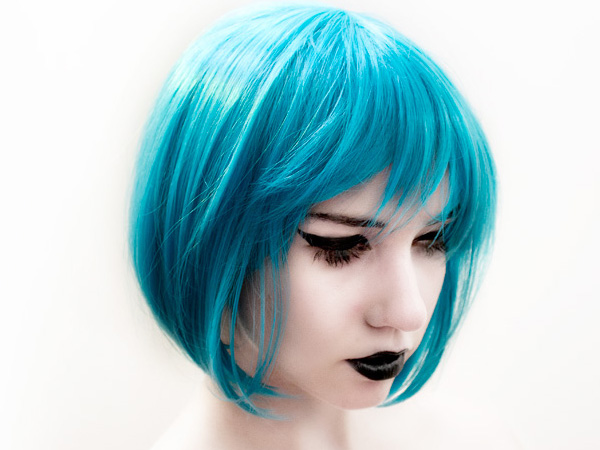 Electric Soft Blue Funky Hairstyle