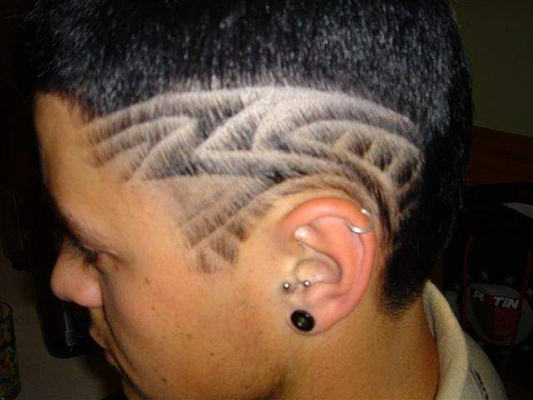 Horizontal Patterned Hair Tattoo