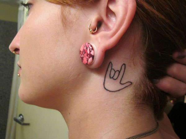 ear lvusymbol 25 Awesome I Love You Tattoos