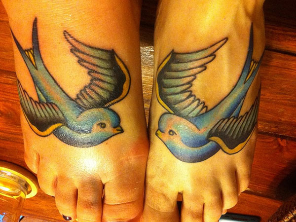 Blue Birds Feet Tattoo