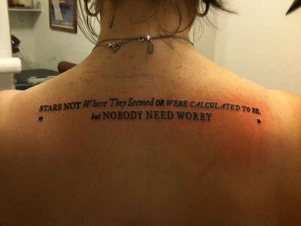 Horizontal Back Tattoos Back Quote Tattoo