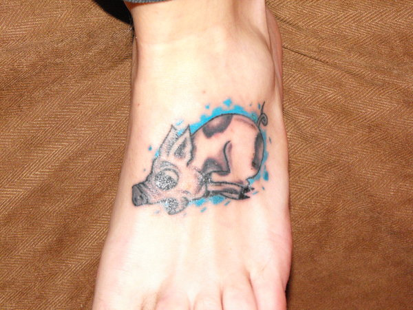 Swimming Pig Tattoo