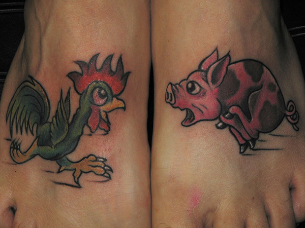 Scared Piggy Tattoo