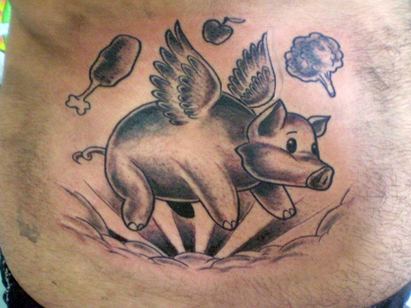 Angel Pig Tattoo