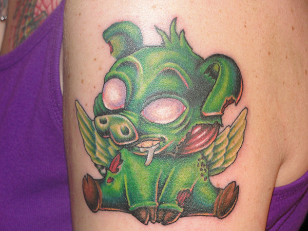 Monster Green Pig Tattoo