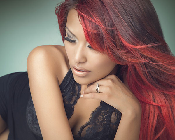 Highlighted Red Hairstyle