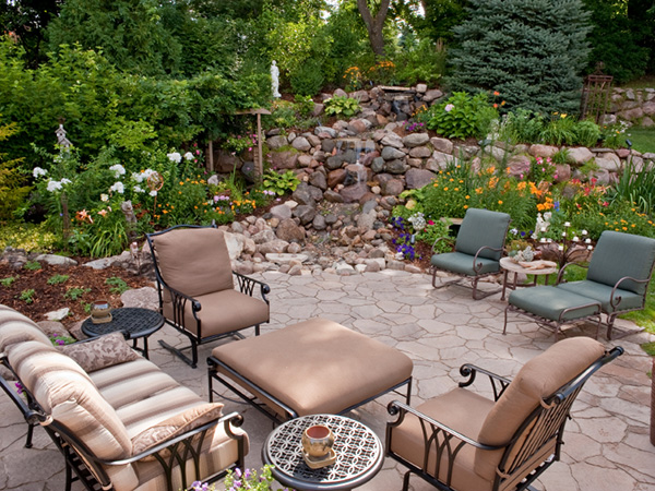 Warm Backyard Seating Area