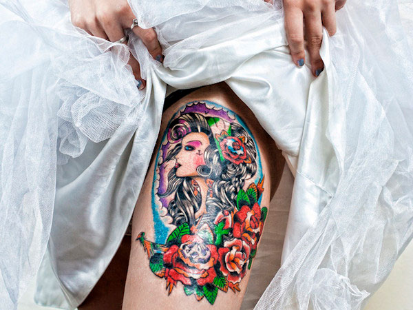 hiptattoo 25 Exotic Thigh Tattoos For Women
