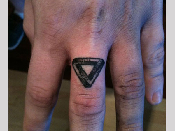 Finger Ring Triangle Tattoo
