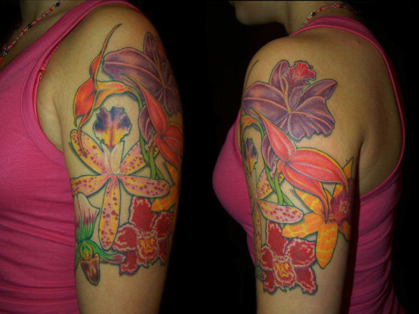 orchid sleeve 25 Tremendous Women Sleeve Tattoos