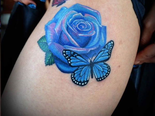 redblue 21 Unique Blue Rose Tattoo Designs