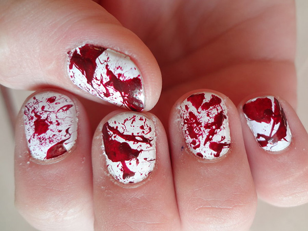 Blood Red Patterned Nails
