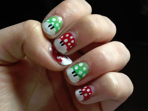 Cartoon Mushroom Nails