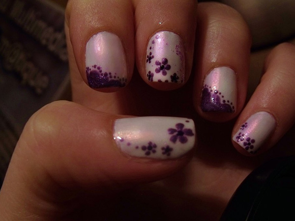 Purple Flower Nails