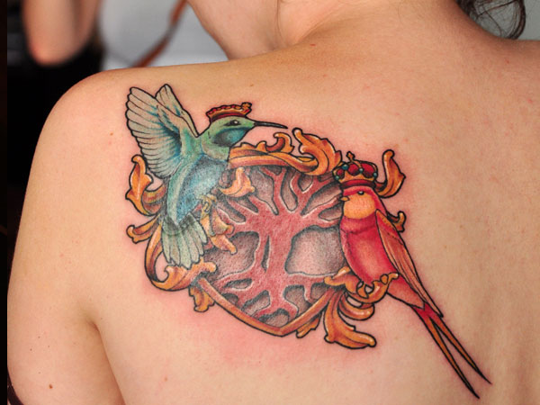 Nice Heart Birds Tattoo