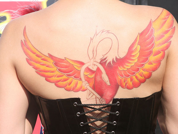 redphoenixback 25 Stupendous Phoenix Tattoos For Women