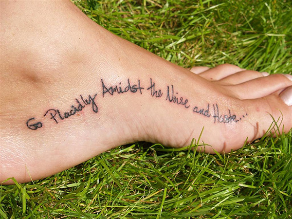 Placidly Wave Quote Tattoo