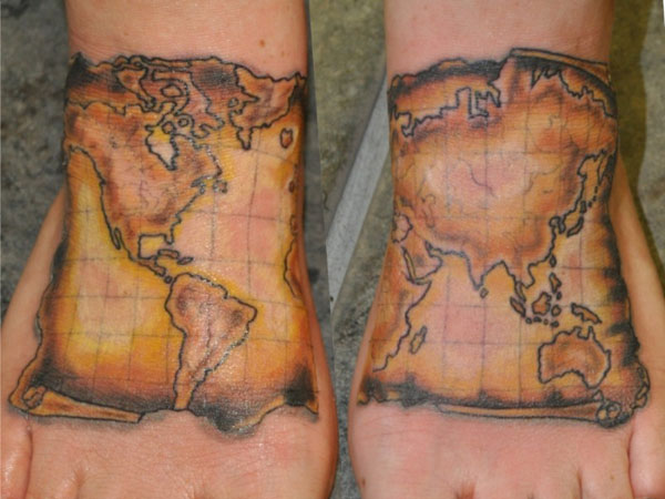25 Breathtaking Travel Tattoos SloDive – World Traveler Maps