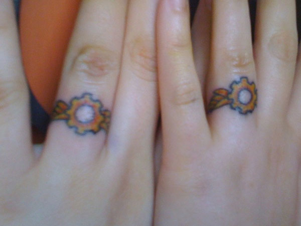 steampunk wedding ring 25 Unique Wedding Tattoos