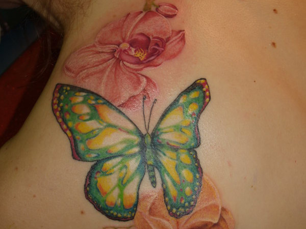 Orchids & Butterfly Tattoo
