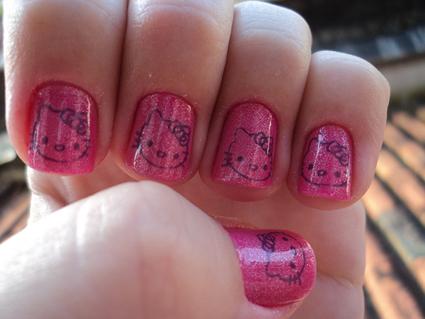 26 overwhelming hello kitty nail designs slodive gorgeous hello kitty nails prinsesfo Gallery