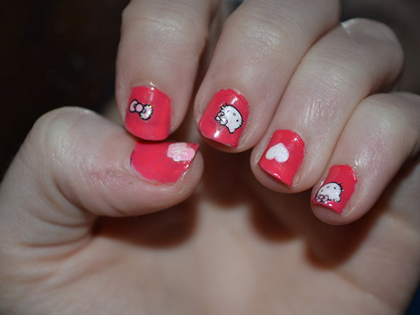 Red Hello Kitty Nails