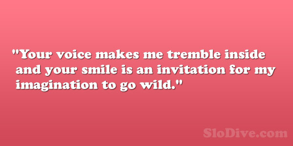 your voice makes me tremble inside and your smile is an invitation for my imagination to go wild