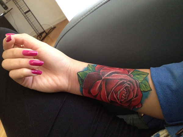 Wide And Beautiful Rose Tattoo