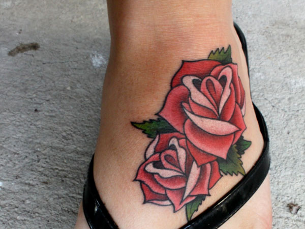 Artistic Rose And Leaf Tattoo