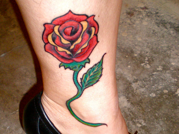 Colorful Rose Tattoo On Leg