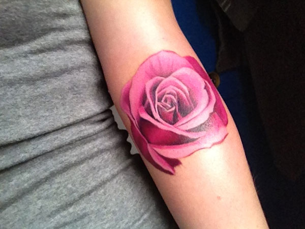 pink rose 23 Uplifting Rose Tattoos For Women