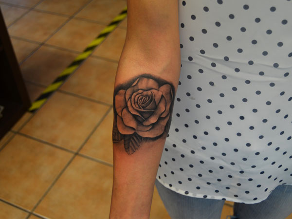 Black Artistic Rose Tattoo
