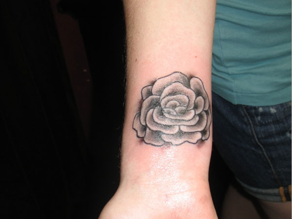 Simple Rose Tattoo For Wrist